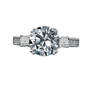 2 CT Intensely Radiant Round  Diamond Veneer Cubic Zirconia with Three Stone Miligree Vintage Engagement/Wedding Ring in Sterling Silver635R13846