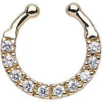 Clear CZ Gold IP Wreath of Sparkle Non-Pierced Clip On Septum Ring | Body Candy Body Jewelry