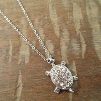 Shiny Silver Rhinestone Turtle Necklace   Candy's Cottage