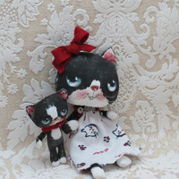 Black and white cat doll and kitten cloth dolls