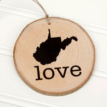West Virginia Love state shape Maple wood slice ornaments - Set of 4.  Wedding favor, Bridal Shower, Country Chic, Rustic, Valentine Gift