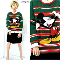 Vintage 80s Mickey Mouse sweater M 1980 Authentic Mickey Unlimited Christmas sweater Disney retro mickey knit sweater SunnyBohoVintage