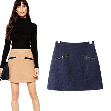 High Waist Decoration Leather Winter Skirt = 5839949953