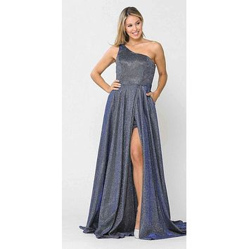 Royal Blue One-Shoulder Long Prom Dress with Pockets