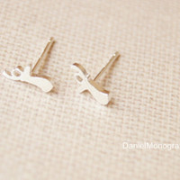 925 Sterling Silver tiny antler earrings,delicate sterling silver earrings