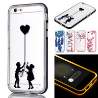 For Capinha Para iPhone 5S Luxury 2 in 1 Smart Calling Flash Luminous Glitter Clear Soft Back Case+Bumper Capinha 5S 6S 6 Plus