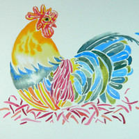 Rooster Kitchen Home Decor. Brightly Colored print of a Rooster