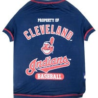 Cleveland Indians Dog Tee Shirt Xtra Small