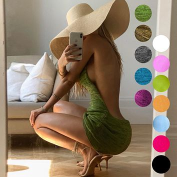 Holiday swimsuit sexy buttocks open back suspender sweater knitted dress