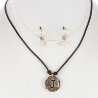 Brown Letter J Hammered Metal Charm Necklace And Earring Set