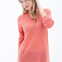 LOVE 21 Ribbed Knit Sweater Coral
