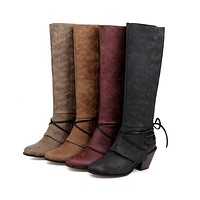 Suede Chunky Heeled Tall Boots Woman Shoes