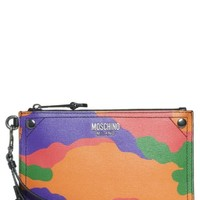Moschino Multi Camo Print Leather Zip Pouch Wristlet | Nordstrom