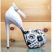 Privileged Hot Night White Black Tribal Print 6.5 High Heel Platform Shoes