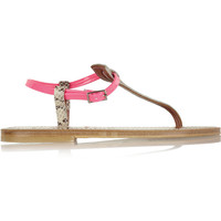 K Jacques St Tropez - Coriolan snake-effect and neon patent-leather sandals