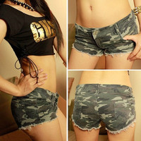 Sexy Women Camouflage Army Military Mini Shorts Low Waist Hot Pants Denim Jeans  ffp = 1930206212