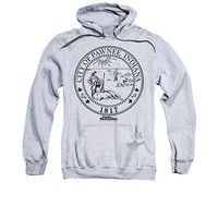 Parks And Recreation Pawnee Seal Gray Pullover Hoodie