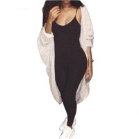 Summer Rompers Womens Jumpsuit Solid Casual Straight Strap Playsuit V-Neck Bodycon Bodysuit Sexy Slim Skinny Cotton Overall **