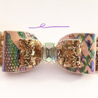 Exclusive Limited Edition Girls Baby Mermaid leather bow, rose gold glitter clip, girls headbands, Summer hair Accessories, Birthday Bow