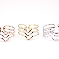 Multi Wishbone Stackable adjustable knuckle Ring in 3 colors-Chevron shape