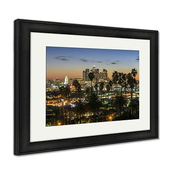 Framed Print, Photo Of Downtown Cityscape Los Angeles At Sunset