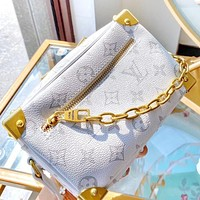 Hipgirls LV New fashion monogram print leather chain shoulder bag crossbody bag White