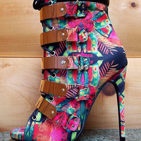 """Multi-Color Fleek Gold Band Open Toe Ankle Boot Shoes - 4.5"""" Heels"""