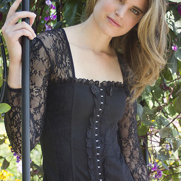 French style black lace corset accent outwear