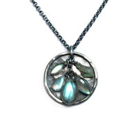 Full Moon Blue Green Labradorite Dangle Disc Pendant Necklace in Oxidized Sterling Silver - Fish Scales Color Labradorite - Nickel Free
