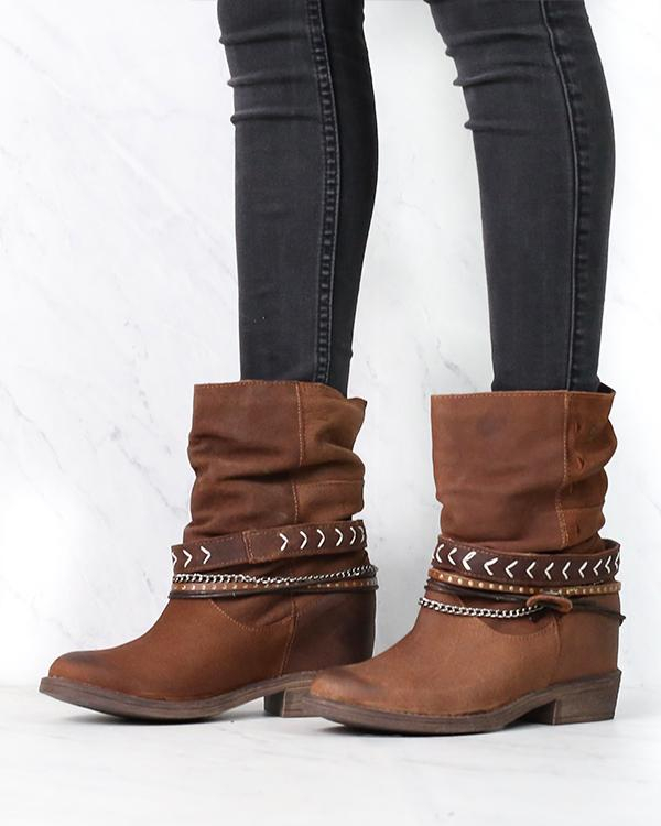 Image of Coolway - Carey Women's Slouchy Western Leather Ankle Boots in Cue