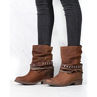 Coolway - Carey Women's Slouchy Western Leather Ankle Boots in Cue