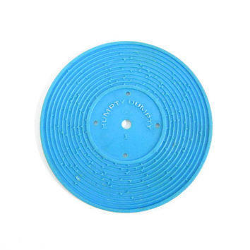 Fisher Price Record #1 Jack and Jill, Humpty Dumpty Blue Plastic Disc for Record Player Toy