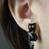 Black Cat Clinging Earrings - Kuroneko - Trigun
