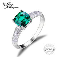 JewelryPalace Cushion 1.8ct Created Green Russian Nano Emerald Solitaire Engagement Ring 925 Sterling Silver 2016 New Fashion