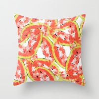 Watermeleon Slices Throw Pillow by Rui Faria