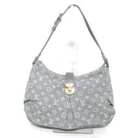 Authentic LOUIS VUITTON Monogram Denim Gris M95834 Slightly Shoulder Bag TH1079