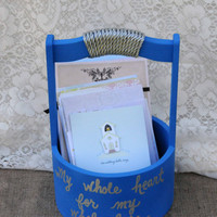 Wedding Basket, Wedding Card Holder, Advice for Bride and Groom Basket, Wooden Keepsake Box, Program Holder, Reception Decor, Blue, Silver