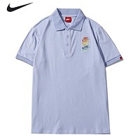 NIKE New fashion embroidery hook letter lapel couple top t-shirt Blue