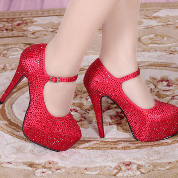 Ankle Strapy Rhinestone High Stilettos Heels Spring Wedding Prom Dress Party Occasions Pumps Shoes