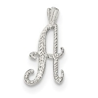 Sterling Silver Polished & Textured Letter A Chain Slide