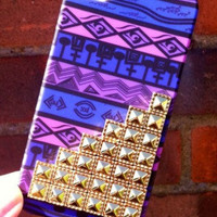 Purple Aztec Tribal Gold Dotted Pyramid Studded Matte iPhone 4 4S Phone Case