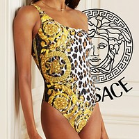 Onewel Versace one piece bikini women head print gold swimmer leopard