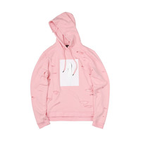 """15SS """"MARSHMALLOW"""" PINK PAINT DESTROYED HOODIE"""