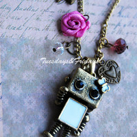Mimi and Nini robots - a friendship or couple charm necklace
