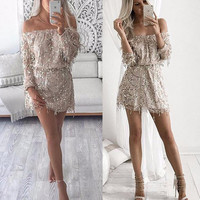 Sexy Off Shoulder Slash Neck Hollow Out Sequined Dress Drawsting Long Sleeve Delicate Party Mini Dress Sexy Backless Dress