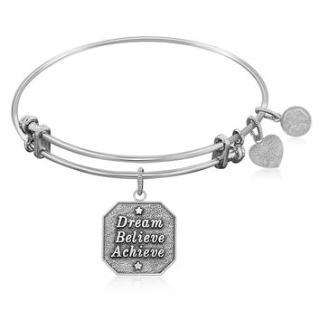 Expandable Bangle in White Tone Brass with Dream Believe Achieve Symbol
