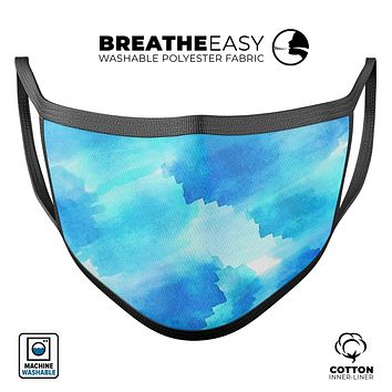Abstract Blue Stroked Watercolour - Made in USA Mouth Cover Unisex Anti-Dust Cotton Blend Reusable & Washable Face Mask with Adjustable Sizing for Adult or Child