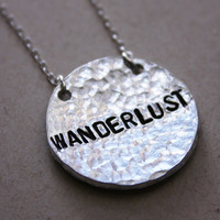 Wanderlust necklace, not all who wander are lost, sterling silver chain, custom necklace
