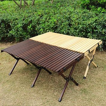 Camping Folding Wood Table- Portable Foldable Outdoor Picnic Table,Cake Roll Wooden Table in a Bag for Picnic, Camp, Travel, Gar