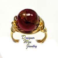 DWJ0291 Gorgeous Ruby Quartz with Pyrite Gold Wire Wrap Ring All Sizes